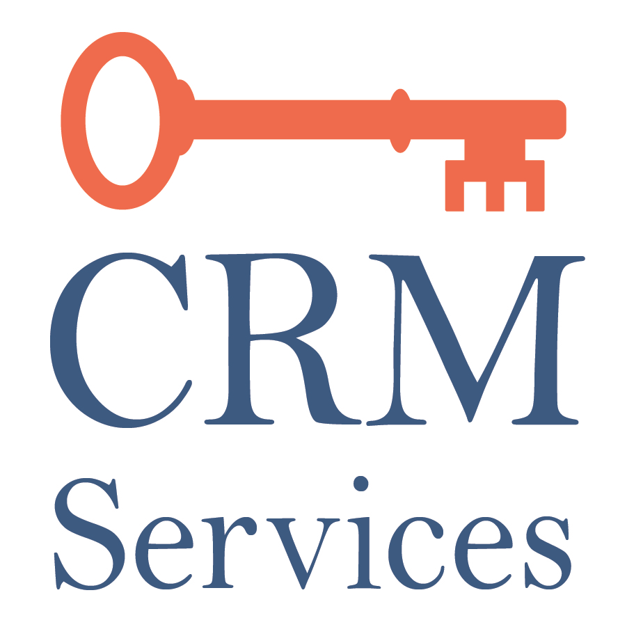 "Orange key above the words ""CRM Services"""